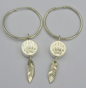 Grizzly paw Hoop and Feather Earrings in silver