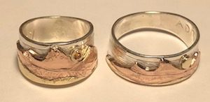 Grand Tetons-Idaho Side in Rose, Yellow gold and silver