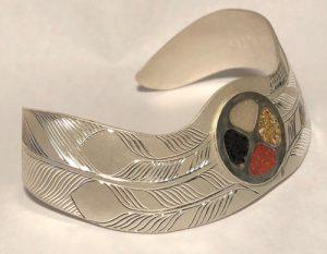 Bracelet in silver, Mammoth tusk Jasper Coral Onyx