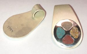 Medicine Wheel Pendant in silver, Mammoth tusk Jasper Coral Onyx