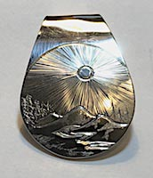 Mountain scene trees river silver pendant